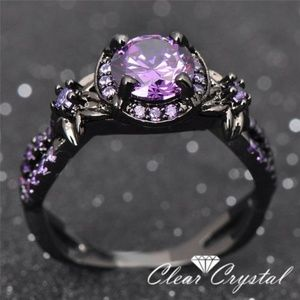 Jewelry - Luxury Purple CZ Ring in Black Gold Filled